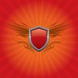 红色盾背景 库存例证