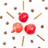 红色石榴石果子、桂香和茴香在白色背景 概念新年度 平的位置 顶视图 免版税库存照片