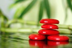 红色石头在发光的地板和叶子和竹子后面计划上的生活方式禅宗安排了  库存图片
