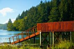 红色码头和舷梯在Siltcoos,湖俄勒冈 免版税库存照片