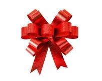 红色礼品弓 丝带 查出在白色 库存照片