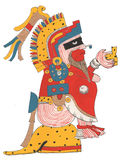 红色礼服和用羽毛装饰的头饰的Mixtec战士 安装在豹子皮肤平台,举行提供 免版税库存图片