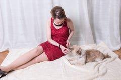 红色礼服哺养的狗的妇女在毯子 免版税库存照片