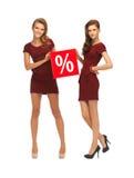 红色礼服的两个十几岁的女孩有百分号的 免版税图库摄影