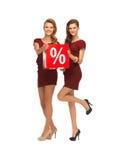 红色礼服的两个十几岁的女孩有百分号的 免版税库存照片