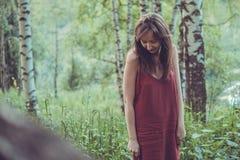 红色礼服的俏丽的女孩在山的一个夏天森林里 库存图片
