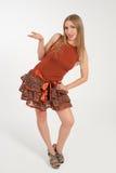 红色礼服的女孩 免版税库存图片