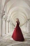 红色礼服的妇女在圣Marco广场威尼斯附近 库存照片
