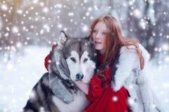 红色礼服的妇女有狗的 有爱斯基摩或爱斯基摩狗的童话女孩 圣诞节 免版税库存照片