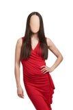 红色礼服的妇女没有面孔 免版税库存照片