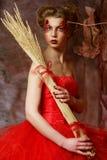 红色礼服的妇女 意想不到的发型和组成 库存图片