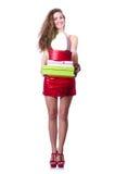 红色礼服的妇女 免版税库存图片