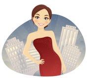 红色礼服的妇女 库存例证