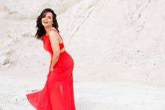 红色礼服的快乐的吸引人女孩有光秃的肩膀的,在原野摆在外部 免版税库存照片