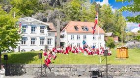 红色礼服的挪威少年基于草 库存图片