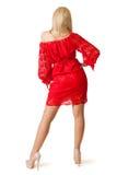 红色礼服的新美丽的妇女。 免版税库存图片