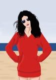 红色礼服的时尚女孩 免版税库存图片