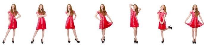 红色礼服的红头发人妇女 图库摄影