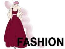 红色礼服的美丽的时尚女孩 向量例证