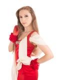 红色礼服的年轻女性 免版税库存照片