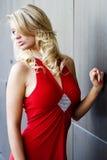 红色礼服的jess 库存图片