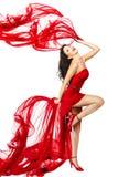 红色礼服跳舞的妇女 库存照片