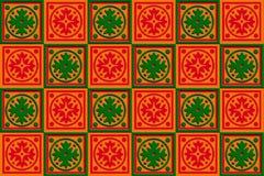 红色礼物盒的换行,桔子&绿色 库存图片