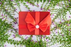 红色礼物盒背景和叶子 免版税图库摄影