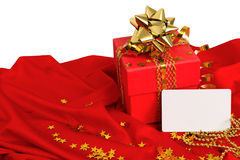 红色礼物,名片 免版税库存照片