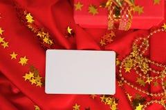 红色礼物,名片 免版税库存图片