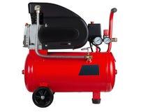红色空气压缩机 图库摄影