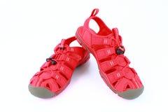 红色穿上鞋子在白色背景隔绝的sandle 库存照片