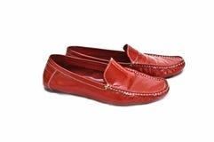 红色穿上鞋子妇女 库存图片