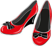 红色穿上鞋子妇女 向量例证