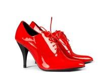 红色穿上鞋子妇女 免版税库存照片