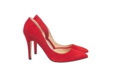 红色穿上鞋子绒面革 免版税库存照片