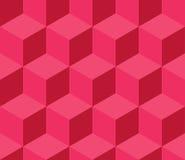 红色立方体无缝的样式 免版税库存图片