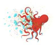 红色章鱼和花在白色 向量例证