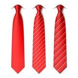 红色简单和镶边领带 库存照片