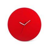 红色简单的圆的壁钟-在白色背景隔绝的手表 免版税库存图片