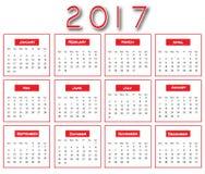 红色简单的2017日历-日历2017设计 免版税库存图片