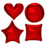 红色箔气球设置与裁减路线 库存图片