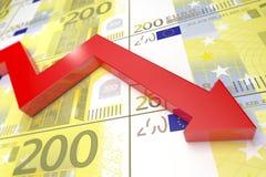 红色箭头和欧元钞票 3d回报 免版税图库摄影