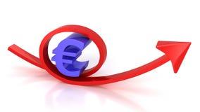红色箭头和欧洲标志 库存照片