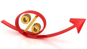 红色箭头和百分之 库存照片