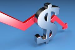红色箭头和美元的符号 3d回报 免版税图库摄影