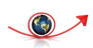 红色箭头和行星地球 库存照片