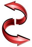 红色箭头圆环转动 库存图片