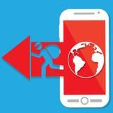 红色箭头黑客指出智能手机 免版税库存照片
