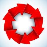 红色箭头闭合的传染媒介圈子 库存照片